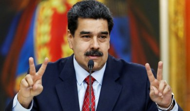 Venezuela's President Nicolas Maduro sholds a news conference in Caracas